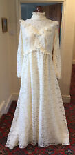 VINTAGE 1970's VICTORIAN/EDWARDIAN STYLE CREAM LACE WEDDING DRESS WITH TRAIN