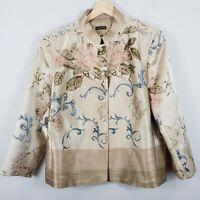 [ CARLA ZAMPATTI ] Womens Floral Print Silk Blazer / Jacket  | Size AU 16