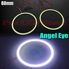 2x Angel Eyes COB Halo Ring White 80mm LED Light Headlight Fog Housing