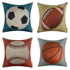 Vintage Sports Pillow Case Football Cushion Cover Home Decor Sofa Baseball Couch