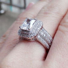 Silver Wedding Engagement Ring Size 7 Women Bridal Radiant White Cz 925 Sterling