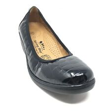 Women's Spring Step Wedge Ballet Flats Shoe Size 36 EU/6 US Black Croc Patent W2