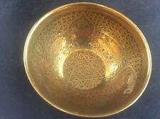 Antique Handmade Brass Islamic Persian Seal of Solomon Bowl Animals Figure Islam