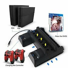 5IN1 Fan Cooler Vertical Stand with Dual Controller Charger Dock USB HUB For PS4