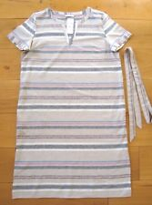 BNWT LADIES UK 14 M&S CLASSIC STRIIPE TUNIC DRESS Cotton Linen Mix RRP £38