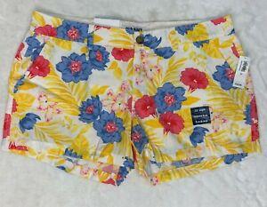 Old Navy Everyday Printed Floral 3.5 Inseam Split Pocket Flat Front Short Women