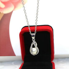 Women Helix Drop Pendant Natural Oyster Wish Love Pearl Necklace Jewelry