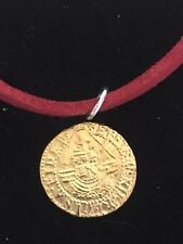 """Elizabeth I Quarter Angel Coin WC51 Gold  Pewter On a 18"""" Red Cord Necklace"""