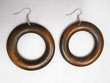 NEW BIG DARK BROWN WOOD FLAT DONUT ROUND DANGLING WOODEN HOOP ELEMENTAL EARRINGS
