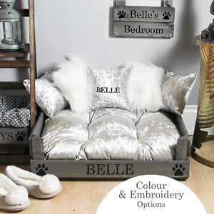 Small Silver Velvet Pet Bed - Personalisable