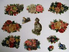Mixed Lot of Vintage Die-Cuts For Scrap Booking w/ Embossed Cats & Pansies *