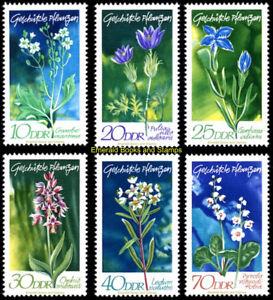 EBS East Germany DDR 1970 - Protected Native Plants (III) - Mi. 1563-1568 MNH**