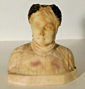 """Vtg. Carved Alabaster Marble Dante Bust Sculpture Italy 6 1/2"""""""