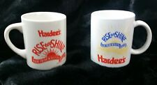 2 Hardees Vintage Mugs Rise and Shine Homemade Biscuits Coffee Cups