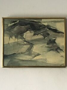ROCHELLE BLUMENFELD MODERN ABSTRACT OIL PAINTING 1960s VINTAGE EXPRESSIONIST