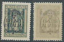 1924 FIUME REGNO D'ITALIA 50 CENT DECALCO MH * - F13-3