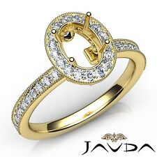 Halo Pave Diamond Engagement Milgrain Ring 14k Yellow Gold Oval Semi Mount 0.5Ct