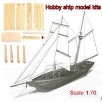 Hobby DIY Ship Boat Wooden Model Assembly Kit Scale 1:70 Sailboat Kids Toy  ❤