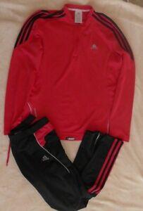 Women's Adidas leggings & Top. Running Gym Black & Pink, size 16.