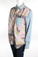 STONE CRAFT Light Denim Abstract Button Up Jeans Shirt Pink Top S 4 6 $175