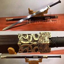 Double Dragon Handmade Chinese Jian Folded Steel Groove Sword Brass fittings 汉剑