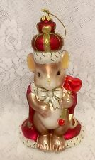 """Charming Tails Mouse Christmas Ornament King of my Heart 9"""" Fitz Floyd"""