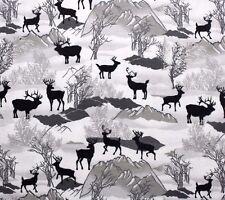 FLANNEL*  SILHOUETTE ELK, DEER, TREES on SNOW SCENE *100% Cotton Fabric NEW* BTY