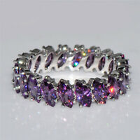 Elegant Women Marquise Cut Purple Amethyst 925 Silver Wedding Ring Size 6-10