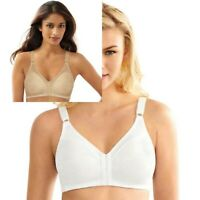 Bali Bra Double Support Front Closure Wire Free Bra DF1003 Beige or White