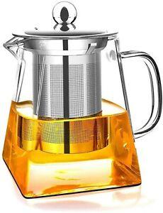 UK Heat Large Size Resistant Clear Glass Teapot Jug Coffee Tea Leaf Herbal Pot