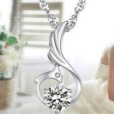925er Sterling Silber  Schwan Anhänger Collier Halskette Silberkette Zirkonia