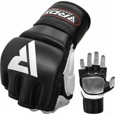 RDX T1 Leather MMA Grappling Training Gloves Open Palm Gel Padded, Black/Red, XL