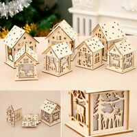LED Light Wood HOUSE Mini Christmas Tree Hanging Ornaments Holiday Decors New