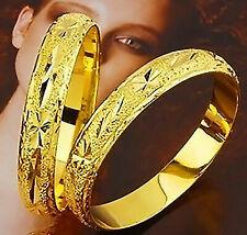 24k Yellow Gold Bracelet Bangle Wide Italian Cut Women's Opening W Gift Pkg D257