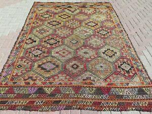 "Vintage Turkish Kilim Rug, Kelim, Area Rug, Large Rug, Carpet, Teppiche 72""X99"""