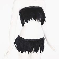 goose feather fringe trim for Black crafts costume sewing 2 metre