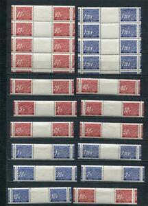 Czechoslovakia Bohemia &Moravia 1939/40 Numerical Gutter pairs/ Blocks MNH 4932