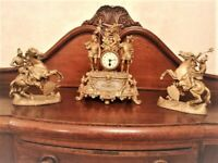 Antique French Mantle Clock And Garniture in WORKING Order.
