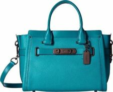 NWT $450 Coach 34816 Swagger 27 Pebble Leather Handbag Satchel Turquoise