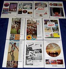 Lot of 10 Ads~ONTARIO Canada Tourism~Huron Indians,Trillium,Niagara Falls,Sports