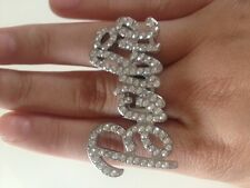 RARE Celeb Statement Cocktail Silver Clear Crystal Barbie Ring Rocks By Boutique