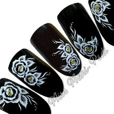 Nail Art Water Transfers Decals White & Yellow Flowers Floral  G004