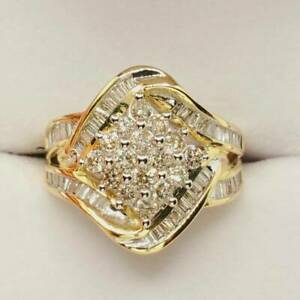 Breathtaking Wide Cluster Anniversary Ring 4.15 Ct Diamond 14K Yellow Gold Over