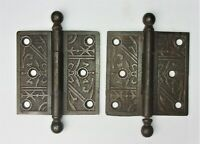 "Pair of Antique Eastlake Victorian Cannon Ball Pin Door Hinges 3.5"" x 3.5"""