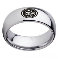 San Francisco 49ers Football Team Silver Stainless Steel Men Band Ring Size 6-13