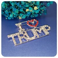 "Large 2.25"" Sparkling Rhinestone ""I Love Trump"" Pin, Republican Party, Red Heart"
