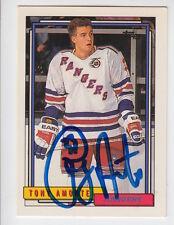 1992/93 TOPPS TONY AMONTE NEW YORK RANGERS AUTO AUTOGRAPH CARD #229 JSA STICKER
