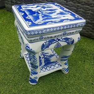 Vintage Oriental  Pot  Stand Blue And White Ceramic Stool / Table