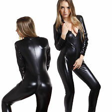 4 Way Zip  Sexy Shiny Black Stretch PVC/spandex Catsuit Size 10/12 Free P&P