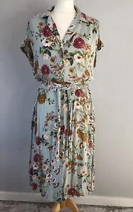 LOUCHE Size 14 Duck Egg Green Floral Tea Dress 40s Look A Line Pockets